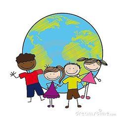Niños sobre el planeta
