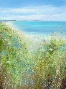 Amanda Hoskin Summer Blues, Tresco Oil on Paper 78 x 57 cm £ Beach Landscape, Landscape Photos, Landscape Paintings, Landscapes, Paintings I Love, Beach Paintings, Texture Painting, Painting Clouds, Watercolor Pictures