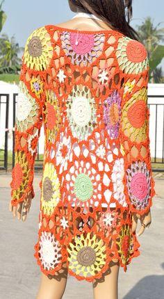 G193 Vtg Thai Handmade Boho Knitwear Crochet Beach Cover Up Dress Sundress M L   eBay
