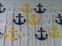 24 Naval Theme Anchor Cupcake Toppers - Set of 24 - Naval Decorations, Nautical Decorations, Party Decor. $3.50, via Etsy.
