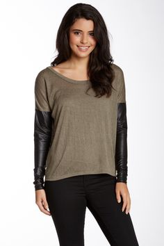 Faux Leather Tee (Juniors) by Abound on @nordstrom_rack