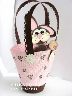 Round Easter Bunny Basket