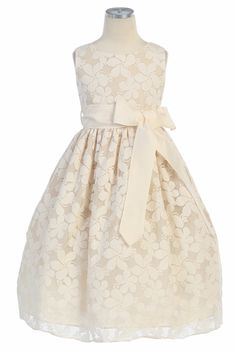 Ivory Flower Embroidered Lace Dress w/Removable Sash