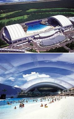 """""""Ocean Dome"""" in Miyazaki. Biggest indoor swimming pool in the world, complete with a sky-blue roof with clouds, a volcano and an artificial wave generation system."""