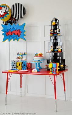 Modern Superhero themed birthday party by Kara Allen   Kara's Party Ideas   KarasPartyIdeas.com-27