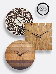 Modern wall clock, wood coasters set and napkin holder by MokuDesignStore Clock Art, Diy Clock, Clock Decor, Wall Clock Wooden, Wood Clocks, Wooden Walls, Wall Clock Design, Wooden Diy, Black Wood