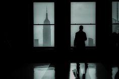 Shot from inside the Rockefeller Building looking down Manhattan.
