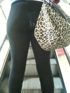 Beautiful Leopard Skin Pocketbook and See Through Leggings.  This is exactly why leggings are not called pants!!!!!