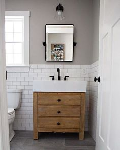 We're keeping in mind on these personality-packed lavatory. Click through to see the most breathtaking half bathroom ideas of the moment. Wood Bathroom, Bathroom Renos, Bathroom Flooring, Bathroom Ideas, Pottery Barn Bathroom, White Subway Tile Bathroom, Oak Bathroom Vanity, Rustic Bathroom Vanities, Bath Vanities