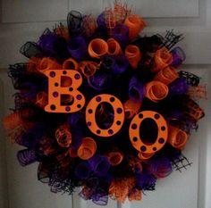 Items similar to BOO.Spiral Deco Mesh Wreath on Etsy Halloween Mesh Wreaths, Holiday Wreaths, Halloween Crafts, Halloween Decorations, Halloween Boo, Halloween Camping, Winter Wreaths, Spring Wreaths, Summer Wreath
