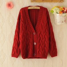 Retro Big Cable Knit Batwing Loose Sweater