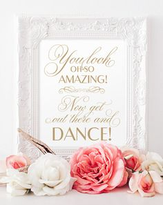 You Look Oh-So Amazing Sign - 8 x 10 sign - Printable - Baroque Swirls antique gold - PDF and JPG files - Instant Download