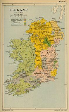 Map of Ireland 1558-1652