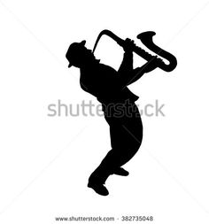 The saxophonist. Musician, saxophonist plays the saxophone music, silhouette. Digital illustration isolated on white background. For holiday Art, print, web - graphic design. - stock photo
