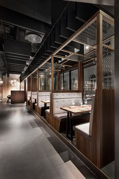 restaurant dittel architektens enso sushi + grill strives for harmony and perfection in its latest design Grill Restaurant, Restaurant Booth Seating, Decoration Restaurant, Woods Restaurant, Pub Decor, Hotpot Restaurant, Restaurant Counter, Restaurant Restaurant, Rustic Restaurant