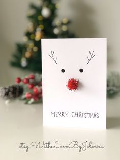 Handmade Christmas cards with red pom-pom as reindeer nose. You can purchase them on Etsy at the link below! Christmas Card Crafts, Homemade Christmas Cards, Christmas Drawing, Christmas Gift Wrapping, Christmas Printables, Kids Christmas, Homemade Cards, Handmade Christmas, Holiday Crafts