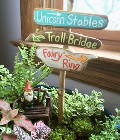 Etsy Transaction -          fairy garden sign, fairy garden signpost, troll bridge, fairy ring,unicorn stables, miniature garden supplies