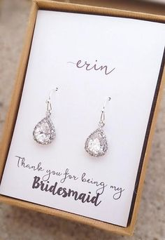 Sterling silver cubic zirconia drop earrings. Earring size: 11mm x 9mm. About an inch in length.The perfect gift for her! Cards will come neatly placed in a beautiful brown gift box with white ribbon. Thanks for looking!❤ -------------------------------------Bridesmaids Gifts,Bridesmaids Earrings,Teardrop Earrings,Wedding Earrings,Personalized Bridesmaid Gift,Maid Of Honor Gift,Matron Of Honor Gift,Mother of the bride gift,Mother of the groom gift,Stud earrings,Personalized…