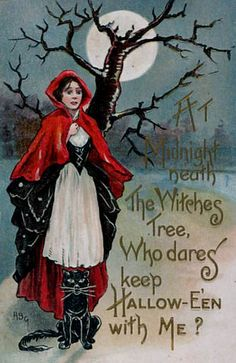 Vintage Halloween card. Red riding hood and black cat, 'neath the witch's tree