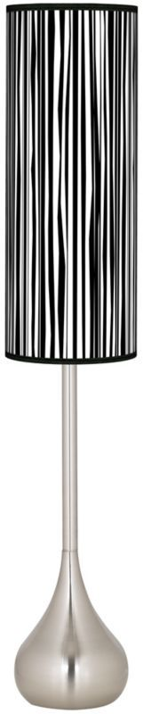 Steel Plank Vertical Art Shade Teardrop Torchiere Floor Lamp -