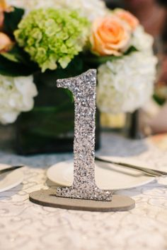 glitter table number, photo by beccaborge.com