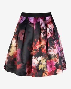 Cascading floral full skirt - Black | Skirts & Shorts | Ted Baker