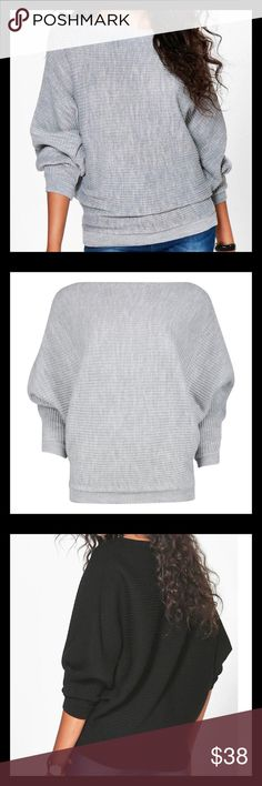 """NWTSuper Soft Gray Ribbed Batwing Sweater Beautiful and Comfy Boatneck 3/4 Sleeve Sweater. Approximate Measurements Length-29"""" Bust-46"""" 1"""" width waistband-38"""" Tag M/L Sweaters"""