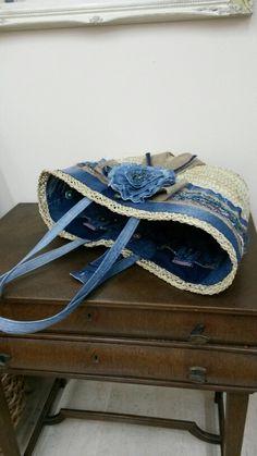 Capazo forrado con tejano reciclado