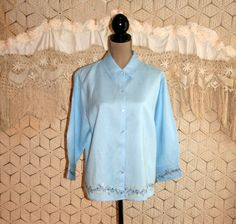 Powder Blue Linen Blouse 3/4 Sleeve Embroidered by MagpieandOtis