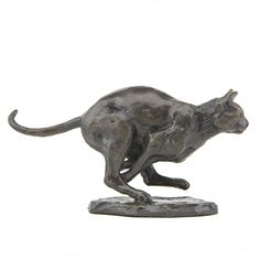 Solid Bronze 'Running Cat' sculpture by Sue Maclaurin. Ltd. Edition of 250 castings, 7.5cm high. Handmade in Britain by Nelson & Forbes.
