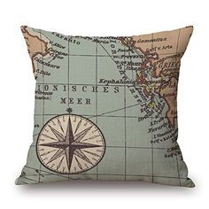 Retro Printing Cotton Europe And The United States Navigation Elements Cushion Sofa Home Decor Design Square 177 Inch Popular Fashion Pillow Case W4584099 ** See this great product. Note: It's an affiliate link to Amazon