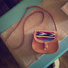 So cute Aztec print leather satchel Real leather light water stain on the Back not noticeable when worn Bags Mini Bags