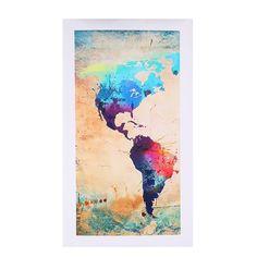 Fashion Canvas Art Print Triple World Globe Map Home Modern Wall Hanging Decor $15.08