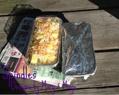 Camping food frozen ahead of time in foil tins