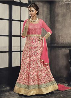 Pink Georgette Floor Length Anarkali Suit 65918