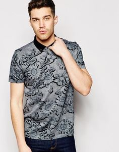 Ted Baker Polo Shirt With All Over Floral Print & Contrast Collar