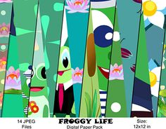 """Check out new work on my @Behance portfolio: """"Froggy Digital Paper Pack"""" http://be.net/gallery/51395057/Froggy-Digital-Paper-Pack"""