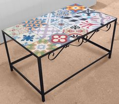 "Centre table ""KIKO"" in steel and hydraulic mosaic tiles. Could use Portuguese tiles. Tiled Coffee Table, Mexican Decor, Tile Furniture, Furniture Decor, Iron Furniture, Art Deco Furniture, Home Decor, Recycled Furniture, Tile Tables"