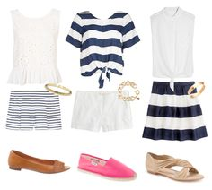 Design Darling: SHOW YOUR STRIPES, I would wear longer shorts and too the knee length skirt, but love all these combinations, Navy and white stripes are a must in a summer wardrobe, KS