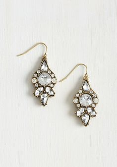 Supreme Gleaming Earrings. Elevate your accessorizing game to an all-time high with these deco-inspired earrings! #white #modcloth