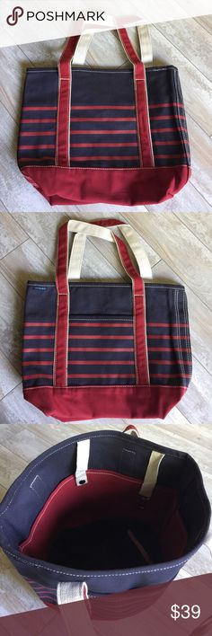 "Lands' End Red & Blue Medium Canvas Open Bag.17184 'Breton Stripe' 24 oz cotton canvas open top medium tote bag measures 17""W x 6""D x 13.5""H (bottom 12""W) handle drop 9"".. Key fob and 4 interior & 1 exterior pockets. Best size for everyday use; holds a grocery-bag full of items. Perfect for papers, magazines, books, lap top. Practically indestructible. Stands upright when empty. Lands' End Bags Totes"