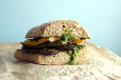 Guest post with: Veggies on the counter - Grilled Vegetable Sandwich with Arugula and Hemp Seed Pesto