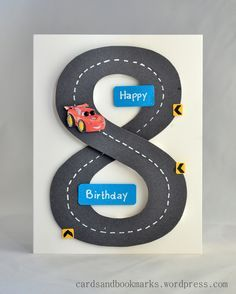 "Race your way to the birthday party with this awesome handmade racetrack card! Video tutorial also shows how to make a ""9"" card."