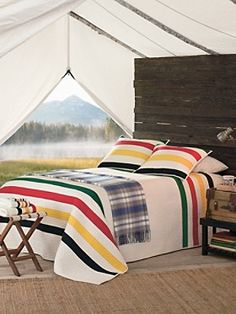 Thats the way to wake up in a wilderness tent - Pendleton National Park Stripe Quilt & Sham Pendelton Blankets, Hudson Bay Blanket, Striped Quilt, Striped Bedding, Cotton Bedding, Southwestern Decorating, Southwest Decor, Quilt Sets, The Ranch