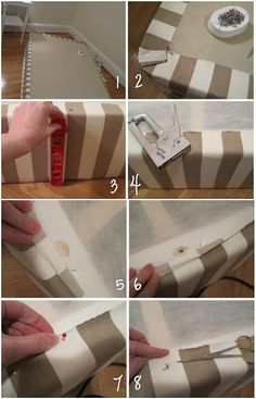 DIY~ How to cover a box spring with decorative fabric instead of using a bed skirt. So Sleek.