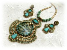 Bead embroidered jewellery set - Egyptian queen - OOAK - Bead embroidery art. $140.00, via Etsy.