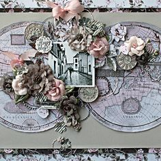 Lovely scrapbook layout by Robbie Herring using Rose Quartz collection paper, stickers and Salvage District flowers. #primamarketing #handmade #flowers #winter2017