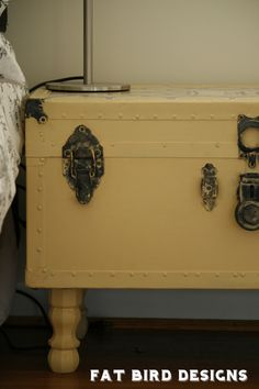 A painted trunk with feet added for height is a smart idea.