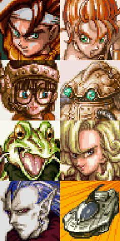 Chrono Trigger (1995, SNES) - Crono, Marle, Lucca, Robo, Frog, Ayla, Magus, Epoch.