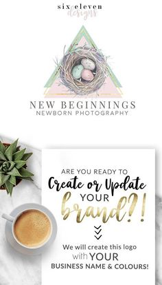 SIX ELEVEN DESIGNS - Premade Logos on Etsy - Modern Branding Solutions for your business - Logos for your business, boutique or blog. Blogger header, Blog Header and social media. Photography Logos, Business Logos, Boutique Logos, Shop Logos, Brand Logos. Newborn photographer, Nest, Beginnings, Baby,